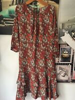 WOMENS LAURA ASHLEY FLOWERY BOHO DRESS SIZE 12 FESTIVAL AUTUMN FIT & FLARE HIPPY