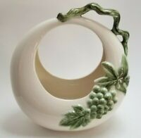 Vintage Hull USA Pottery Ceramic Planter Green Grapes Leaves Vine Handle Johay