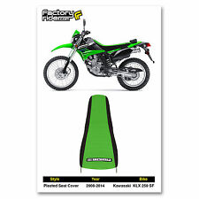 2008-2014 KAWASAKI KLX 250 SF Black/Green PLEATED SEAT COVER BY Enjoy MFG
