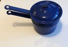 New listing Vintage Antique Dark Blue Enamel Double Boiler/w- Lid~3 pc Set