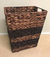Brown Square Wicker Rattan Waste Paper Basket Rubbish Bin Home Office Bedroom