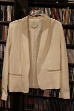 IRO Toby White Blazer Jacket with lambskin ivory Trim sz 2 Retail $800+ (b165)
