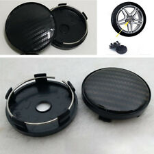 4 Pcs Black Carbon Fiber Look Auto Car Wheel Hub Center Caps Cover 60MM Plastic