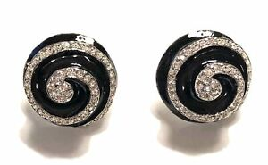 KENNETH JAY LANE, PAVE CRYSTAL SWIRL SILVER CLIP EARRING, CHOOSE: BLACK OR WH...