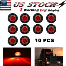 "10X 3/4"" Small Round Side Marker Lights 12V Red Led Bullet Light Truck Trailer"