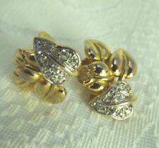SOLEIL  Vintage Art Nouveau Style Clip Earrings 18ct Gold Plate +Diamante
