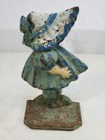 Old Hubley Sunbonnet Girl Baby Sue Cast Iron Doorstop Original Paint #72 Hairbow
