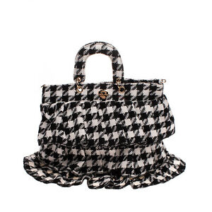 RRP €185 MIA BAG Tiered Tote Bag Houndstooth Pattern Heart Logo Slouchy Design