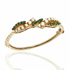 Pearl and Emerald Bracelet in Gold