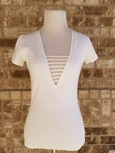 NWT EXPRESS One Eleven Women's White Cage Front Top Size Small