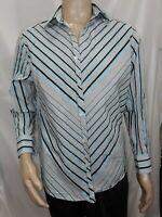 Men's Medium Multicolored Striped Claiborne Casual Dress Shirt