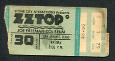 1977 Zz Top Muddy Waters Concert Ticket Stub San Antonio Worldwide Texas Tour