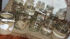 12 Hand Decorated Jar Table Centrepiece Rustic/Vintage Style Hessian Pearls Lace
