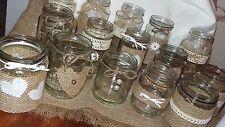 Tarro de 12 Mano Decorado Mesa Central Rústico/Estilo Vintage Arpillera Perlas de encaje
