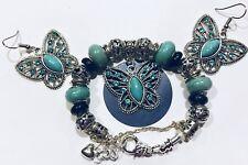 Handmade~ Butterfly European Charm Bracelet~ With Matching Earrings~