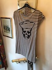 New Kill Deal Grey & Cream Striped Sailor Skull T-Shirt Top & Scarf,Med