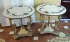 2 VTG Italian Renaissance Revival Side Tables Flowers Scrolls Carved Marble Top