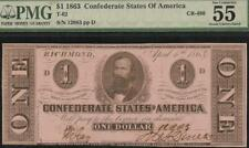1863 $1 DOLLAR CONFEDERATE STATES CURRENCY CIVIL WAR NOTE MONEY T-62 PMG 55 EPQ