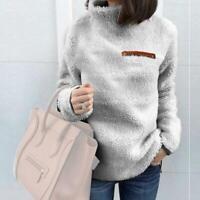 Women's Turtleneck Fleece Fur Jacket Outerwear Winter Coats Fluffy Warm Hoo N0R6