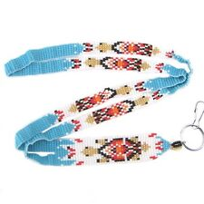 NEW HANDMADE BLUE GOLD COLOR BEADS TURTLE BEADED ID HOLDER LANYARD I23/1