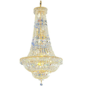 Empire Large Gold Crystal Chandelier Foyer Chandelier Lighting Stair Chandeliers