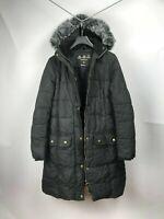 Barbour Peninsula Down Women's Winter Waxed Black Coat Jacket UK16 US12 EUR42