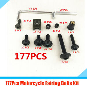 177x Motorcycle Fender Body Faring Work Bolt Screws Clips M6 M5 with Plastic Box