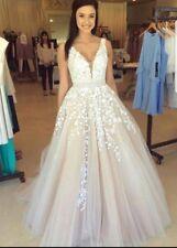 White/Ivory/champagne Lace A-line V- Back Wedding Dress Custom Made Size 6-22
