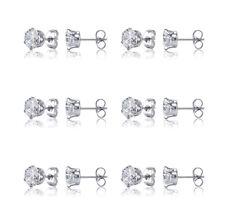6 Pairs Stainless Steel Cubic Zirconia Round Cut Women Stud Earrings Set