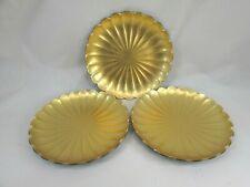 3 Vintage Lacquerware Plates Gold Black Scallop Edge Plate 51595
