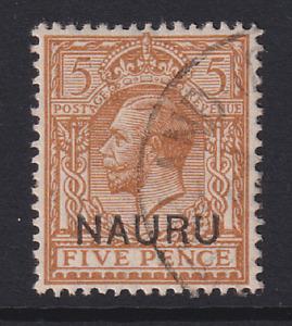 NAURU  1916: f/used 5d yellow-brown KGV SG #9 cv £11 · 2 images
