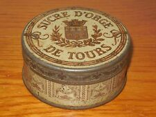 Antique FRENCH  Metalware TIN BOX advertising  SUCRE D'ORGE DE TOURS (1920/30)