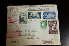 France 1933 Flown Cover to Cresskill Nj Vf Condition