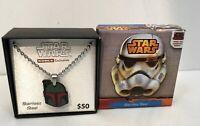 Disney Kohls Exclusive-Star Wars Boba Fett Helmet Necklace-Stainless Steel-New