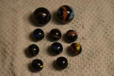 """10 VINTAGE BLACK SWIRL MARBLES 2 SHOOTERS 1"""" TO 11/16"""""""