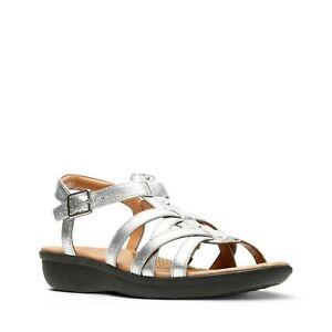 Women's Size 4.5 D CLARKS 'Manilla Bonita' Silver Leather Strappy Sandals - New