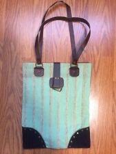 Fabric Striped Tote Shopper Bag Brown And Green