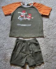 Shorty Schlafanzug kurz Pyjama Gr. 140 Uefa Euro 2008 grün orange