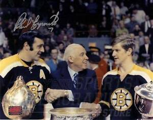 Phil Esposito Boston Bruins Signed Autographed Hart Trophy Bobby Orr Photo 8x10