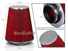 """4 Inches 102 mm Cold Air Intake Cone Truck Long Filter 4"""" NEW RED Fit Nissan"""
