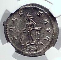 GALLIENUS Authentic Ancient 267AD Antioch Roman Coin APOLLO TRIPOD NGC i81333