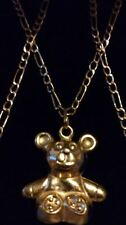 LOVELY 9ct 375 Yellow Solid Gold Teddy Bear Pendant on 19 inches Chain/Necklace*
