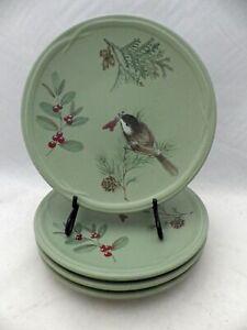 """Pfaltzgraff Winterwood pattern - 4  Salad plates - 8 1/4"""" - Green - 2010"""