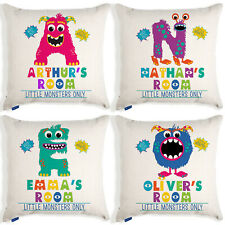 Personalised Initial Boys Cushion Cover Monster Kids Pillow Funny Birthday Gift