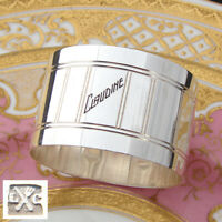 "Antique French Art Deco Style Silver Plate 2"" Napkin Ring, Claudine Inscription"