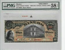 Mexico Banco Minero 10 pesos Specimen in top position PMG graded printer ABC