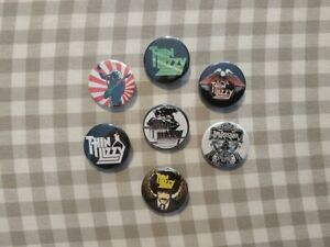 7 x Thin Lizzy band buttons (badge, pin, phil lynott, vinyl, best of, ireland)