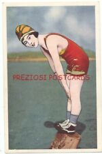 JAPANESE BATHING BEAUTY Ready to Dive PIN-UP ca1920's Postcard GREAT SWIMSUIT