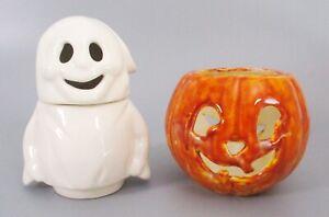 Ceramic Halloween Ghost and Pumpkin Tea Light Holders