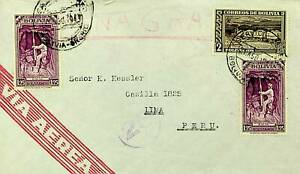 BOLIVIA 1943 WWII 3v ON AIRMAIL COVER TO PERU W/ CACHET